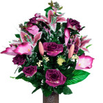 Burgundy Rose and Stargazer Lily (LG)