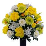 Yellow Peony Lime Daisy White Rose (LG)