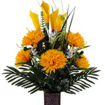 Yellow Fuji Mums with Calla Lilies (MD)
