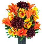 Orange Lilies and Burgundy Dahlias