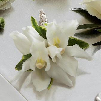 The White Mini Cymbidium Boutonniere