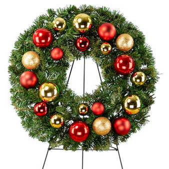 Red and Gold Ornaments Wreath