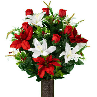 Red Poinsettia and White Lily