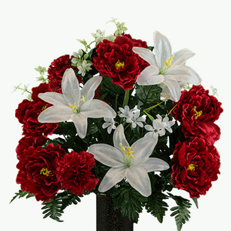 White Lily Red Peony Red Carnation