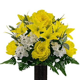 Yellow Peony and Lily with White Hydrangea Mix