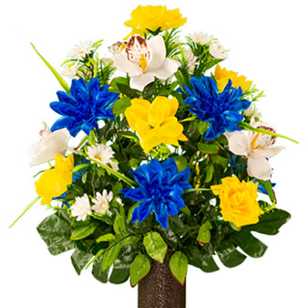 Blue and Yellow Orchid Mix