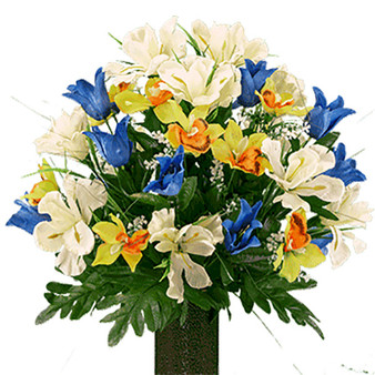 Blue Tulips and Yellow Orchid