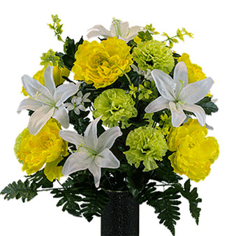 White Lily Yellow Peony Lime Carnation