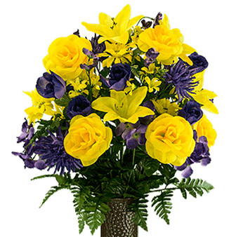 Yellow Rose and Purple Hydrangea Mix