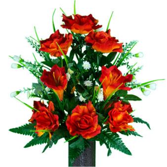 Fire Orange Amaryllis and Roses (MD)