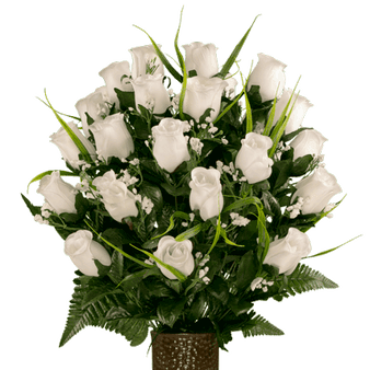 White Roses with Lily Grass