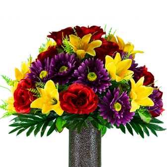 Red Rose and Purple Daisy with Yellow Lily