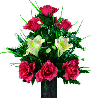 Cream Pink Amaryllis and Fuchsia Rose