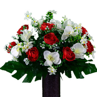 Red Cabbage Rose and White Orchid