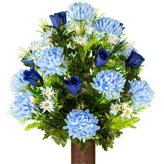 Light Blue Mum and Royal Blue Rose