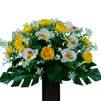 Yellow Cabbage Rose and White Orchid