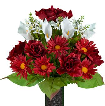 Cinnamon Red Daisy and White Calla Lily