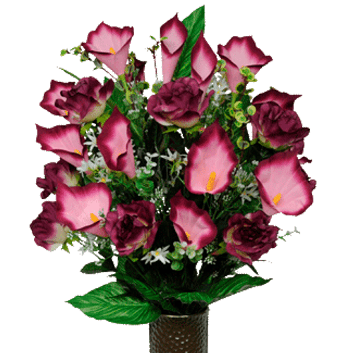 Medium Burgundy Rose and Calla Cone