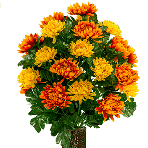 Large Yellow and Orange Mums Cone