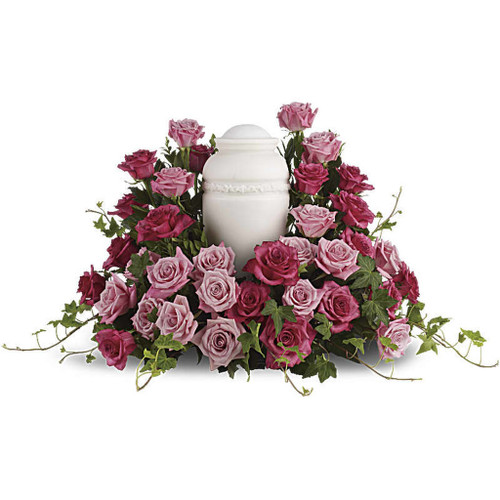 Bed of Pink Roses Cremation Adornment