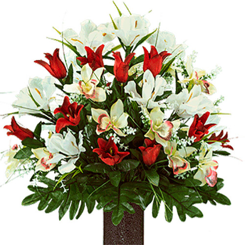 Red Tulips and White Iris