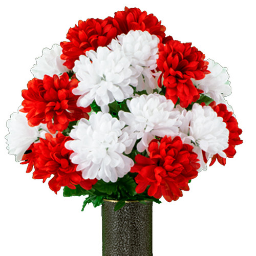 Red and White Mums (SM)