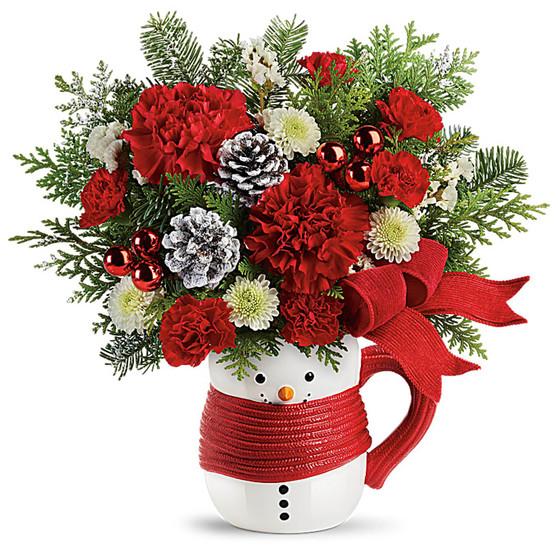 Send a Hug Snowman Mug Bouquet