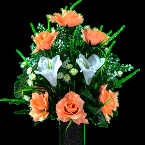 White Amaryllis and Peach Rose