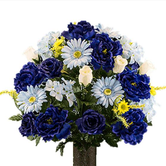 Blue Peony Sky Blue Daisy White Rose