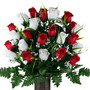 Red and White Roses With Lily Grass (MD)