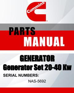 """Cummins GENERATOR SN NAS-5692-EN MODEL'S generator set 20-40 kW parts manual - Lawn Mowers Parts"""
