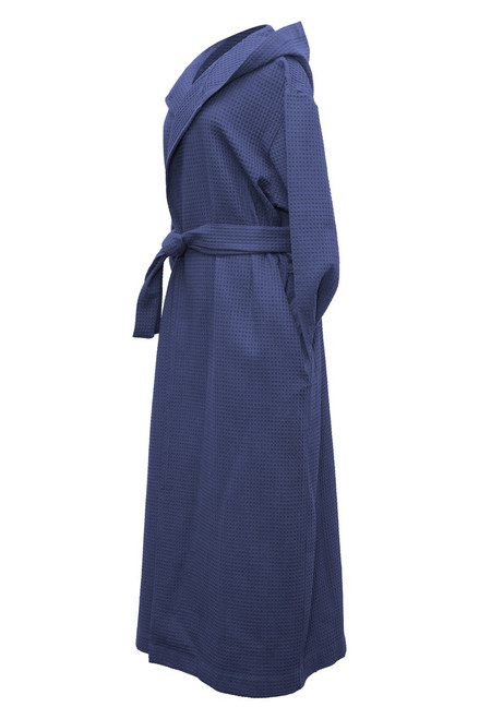 Hooded robe side view navy waffle   Product & Description:  Our hooded style waffle robes/dressing gowns are an essential part of clinical practice. Used for clients during treatments they add an element of professionalism to your clinic whilst making your clients feel extra comfortable..  Waffle weave is a luxurious fabric that stays looking new when laundered correctly, making it long lasting.  These are a must have for your practice be it in home or clinic.   Changed for each client.  Fabric:   100% Cotton Waffle Weave Belt Tie  Size:   Small - width 62 cm, length 134 cm  Medium - width 67 cm, length 139 cm Large - width 70 cm, length 142 cm