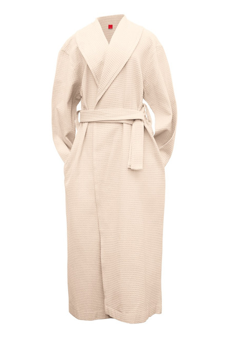 Roll neck robe front view white waffle   Product & Description:  Our Roll neck waffle robes are an essential part of clinical practice. Used for clients during treatments they add an element of professionalism to your clinic whilst making your clients feel extra comfortable..  Waffle weave is a luxurious fabric that stays looking new when laundered correctly, making it long lasting.  These are a must have for your practice be it in home or clinic.   Changed for each client.  Fabric:   100% Cotton Waffle Weave Belt Tie  Size:   Small - width 62 cm, length 134 cm  Medium - width 67 cm, length 139 cm Large - width 70 cm, length 142 cm