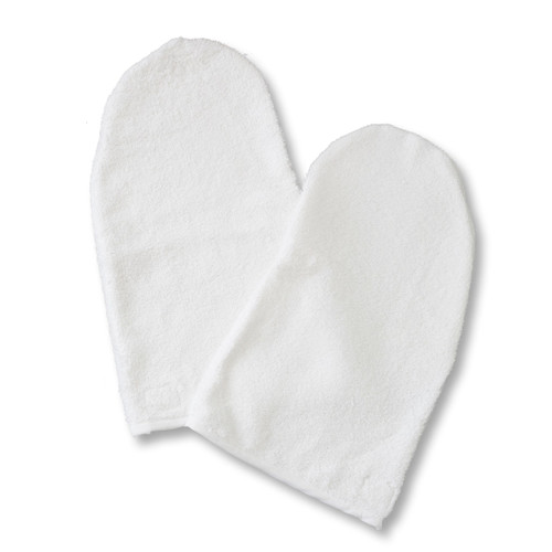 Product & Description:  Manicure mitts are an essential part of clinical practice.  Used for clients during hand treatments they add an element of professionalism to your clinic.  These are a must have for your Beauty Therapy practice be it in home or clinic.   Fabric:   100% Cotton Towelling  Size:   width 15 cm length 30 cm