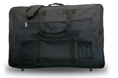 """Product & Description:  Massage Table Carry Bag are essential for the mobile therapist.  Our carry bags come in 3 styles 1 with castors.  Featuring side pockets, hand & shoulder straps  They dimensions listed are """"fit up to""""  Colour:  Black"""