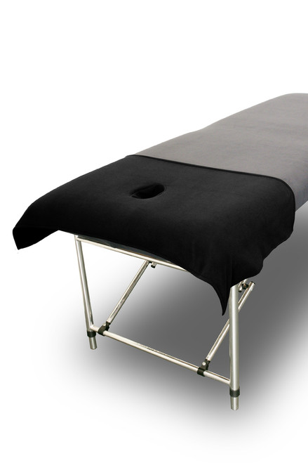 Product & Description  Table drapes lay over your table covers, fitted sheets or plinth covers & are an essential part of clinical practice. Table drapes are the items your client comes into contact with & therefore are changed for each client.  Table drapes have face holes & are used when you use the face hole in your treatment table.  The PTD01 table drape covers the top 1/4 of your treatment table.  Dimensions:    100cm width 50cm length. Face hole inserted 20cm from the top of the table. Face hole 8 cm width 15cm length  Fabric:   Fabric 100% polyester microfibre/fleece  Microfibre/fleece is a soft luxurious fabric that stays looking good when laundered correctly, making is long lasting   This fabric doesn't stain as readily as traditional cotton options & is much quicker to dry.