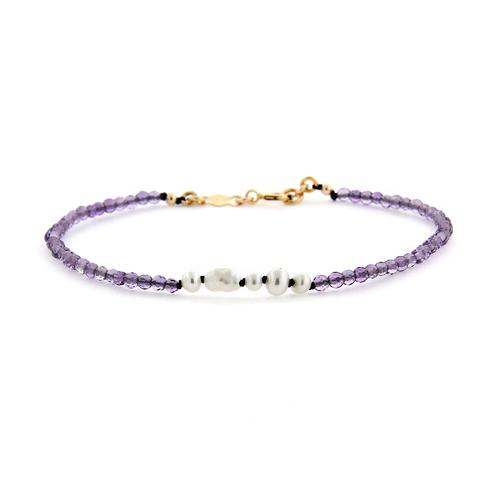 amethyst and pearl gemstone bracelet