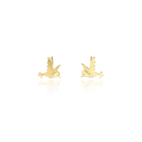 14K Bird Stud Earrings