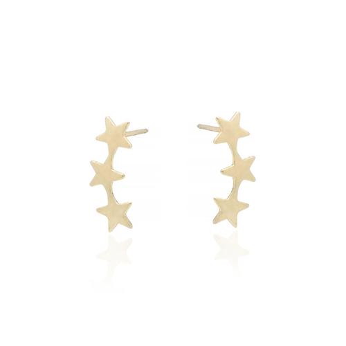 14k Three Star Studs