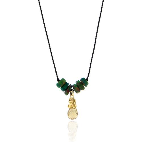 Black Opal and Smoky Quartz Cord Necklace
