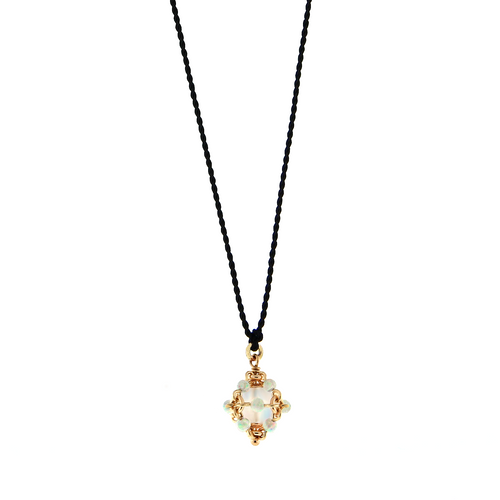 Cord Necklace with Cluster Charm