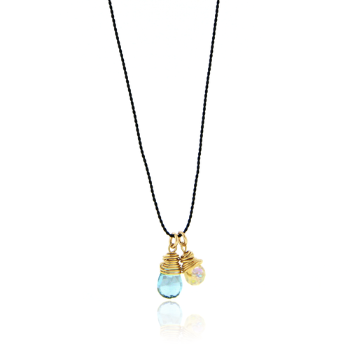Dainty Blue Topaz and Opal Necklace