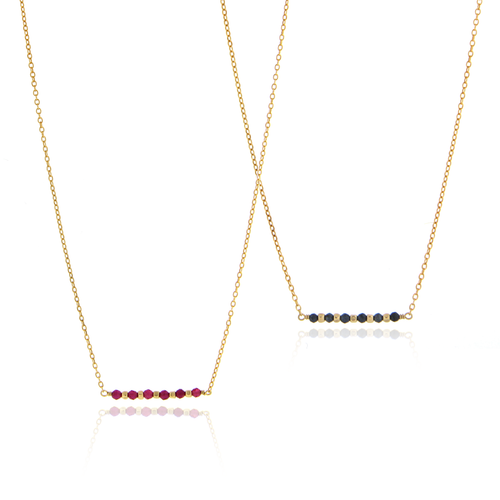 Dainty Gemstone Bar Necklace