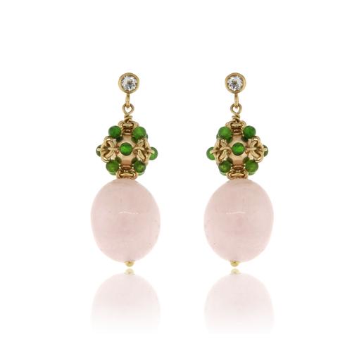 Green Agate and Morganite Cluster Earrings