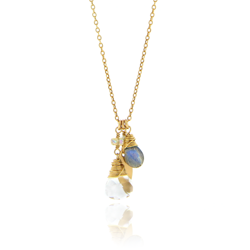 Leaf and Gemstone Charm Necklace