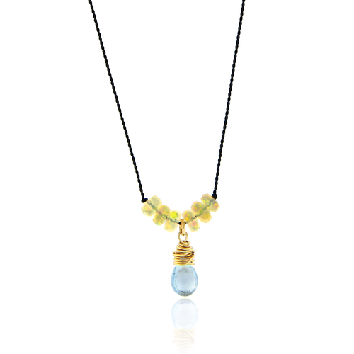 Opal and Blue Topaz Cord Necklace