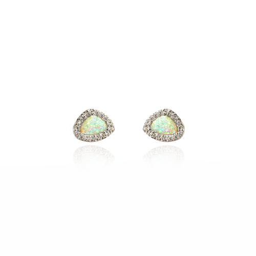 Opal and CZ Earrings