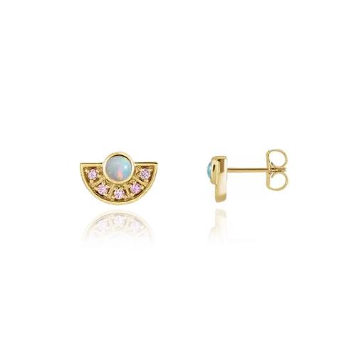 Opal and Pink Sapphire Fan Studs
