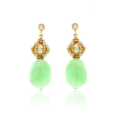 Opal and Prehnite Cluster Earrings