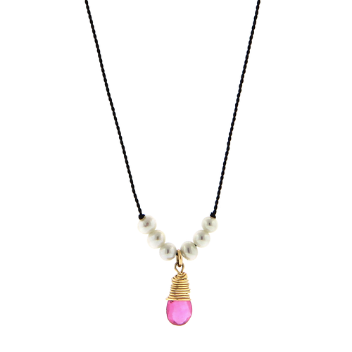 Pearl and Pink Sapphire Cord Necklace